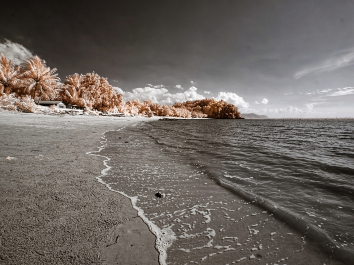 Pasir Panjang Beach in faux/false color. Capture with full spectrum Olympus E-PL5 and B+W 092 infrared filter.