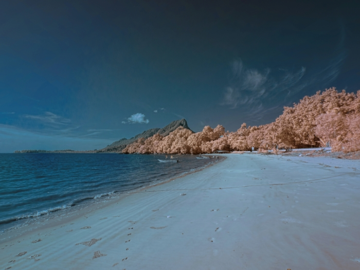 Pasir Panjang Beach in false/faux color. Taken with B+W 090 590nm infrared filter.