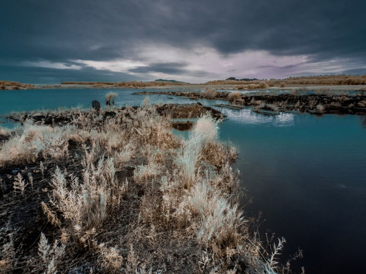 Infrared faux color photography of Wudalianchi National Park. 五大连池